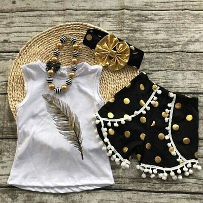 3PCS Toddler Kids Baby Girls T-shirt Tops+Short Pants Summer Outfits Clothes Set
