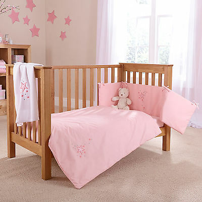 New 4Baby Shooting Star Pink Cot / Cot Bed 2 Piece Quilt & Bumper Bedding Set