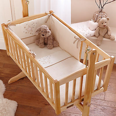 New 4Baby Twinkle Cream Rocking Crib / Cradle 2 Piece Quilt & Bumper Bedding Set