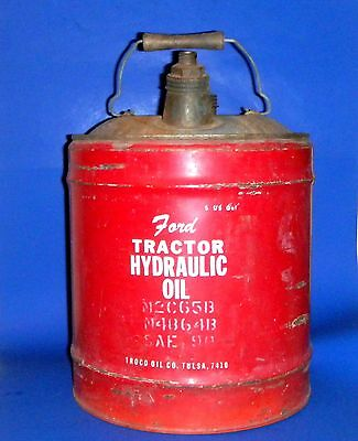 Vintage Ford Tractor Hydraulic Oil 5 Gal. Can fm Troco Oil Co. Tulsa - Man Cave