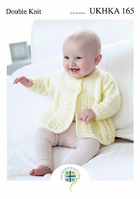 UKHKA 165 Baby Double Knitting Pattern Lacy Round V Neck Cardigans Matinee Coat