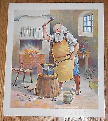 1897 Antique Print Santa Claus as Blacksmith from Kriss Kringle and His Brownies