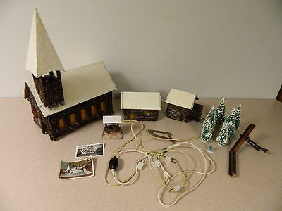 Vtg 1939 Log Cabin Christmas Village & Bottle Brush Trees Lights Up Hand Made