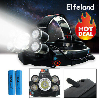 50000LM Elfeland 5x T6 LED Rechargeable Headlamp 18650 Head Light Lamp Torch HOT