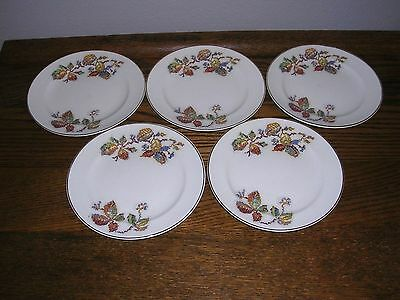 set of 5 BREAD & BUTTER Plates...CROOKSVILLE CHINA PETIT POINT..Berries Pattern