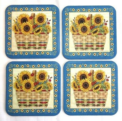 4 Longaberger SPICE BASKET Coasters Sunflowers By Deb Strain New Retired