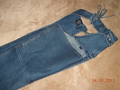 Sports Gallery Women's Blue Jean Denim Motorcycle Riding Chaps (size Large)