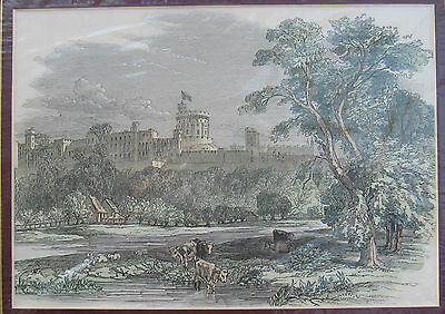 """Antique Hand Coloured Engraving Print of """"Windsor Castle"""" . Mounted"""
