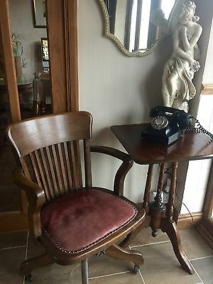 Captains Chair Original 1914 A1 Condition In Burgundy  Swivel Chair Beautiful !
