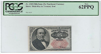 1874-76 25 Cents Fractional Note, 5Th Issue, Fr1309, Pcgs New 62 Ppq