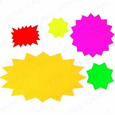 ASSORTED NEON FLUORESCENT STAR CARDS Small-Large Price Display Tags Shop/Stall
