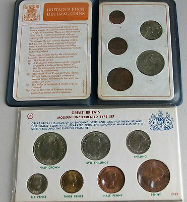 Lot of 2 Items Britains First Decimal Coins  7 Coin Set Uncirculated Type Set #R