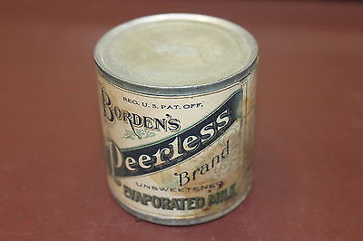 Antique Vintage 1920's Borden's Peerless Brand Evaporated Tin Can Paper Label
