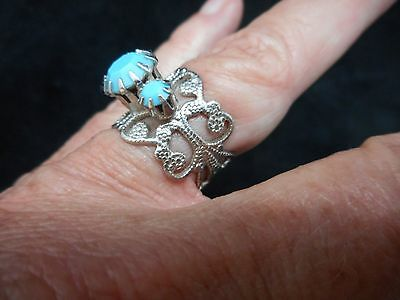 Authentic Vintage-1960's Silver Tone Cuff Ring w/Birds Eye Blue Stones