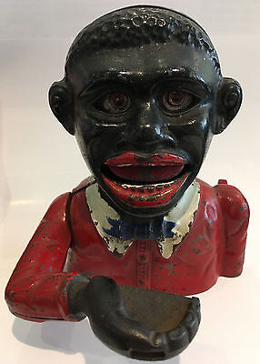 Antique African American Americana Folk Cast Iron Bank 1900's Made in England