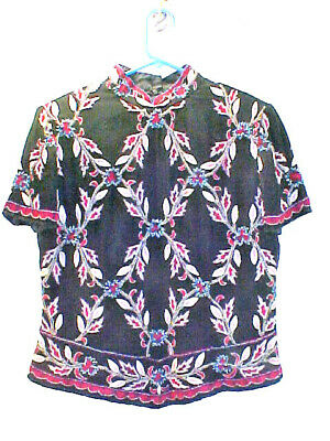 Exquisite Chinese Silk Blouse By Papell Boutique-Must See-Petite M