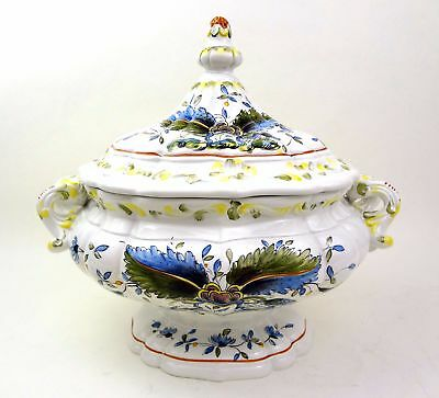 Vintage Italian Porcelain Soup Tureen Hand Painted Italy Large Fine 11 Exquisite