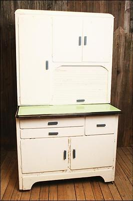 Vintage KITCHEN CABINET hutch shabby storage cupboard hoosier enamel top GREEN