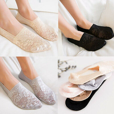 Women Cotton Lace Flower Antiskid Invisible Liner Summer Short Low Cut Socks New