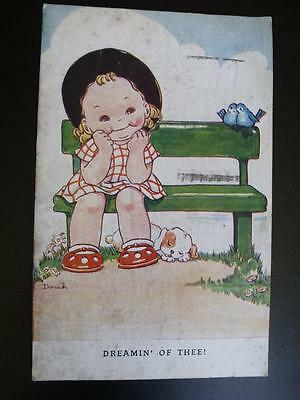 Vintage Signed Postcard Dinah Dreamin' Of Thee! Tuck & Sons Used