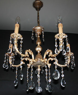 A Vintage French Brass  & Glass Chandelier  Ceiling Light (Ma11)