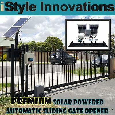 Premium Solar Powered Automatic Sliding Gate Opener - Complete D.i.y Kit