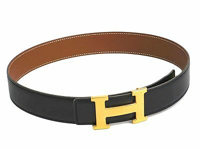 Auth HERMES H Belt Reversible Box Calf/Couchevel Leather Black 65 (BF305479)