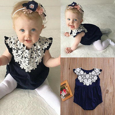 Newborn Toddler Baby Girl Clothes Lace Floral Romper Bodysuit Jumpsuit Outfits