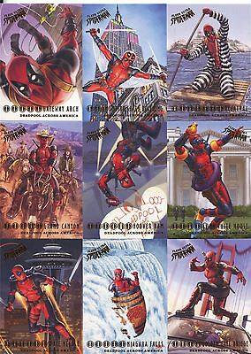 Spiderman Fleer Ultra 2017 Complete Deadpool Across America Chase Set DA1-10