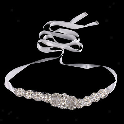 Crystal Pearl Bridal Sash Waist Belt Satin Ribbon Wedding Party Dress Decor