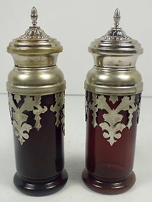 Antique Ruby Red Glass Salt & Pepper Shakers With Fancy Silver Overlays & Lids