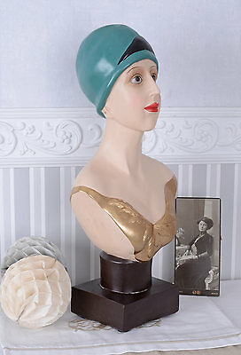 WOMAN'S HEAD WITH TURBAN BUST ART DECO Jewelry Bust schaufensterkopf
