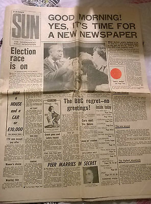 Rare First Issue of The Sun Newspaper - Number 1 - September 15th 1964