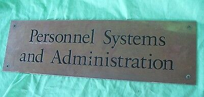 Old vintage reclaim brass & enamel Personnel Systems & Administration door sign