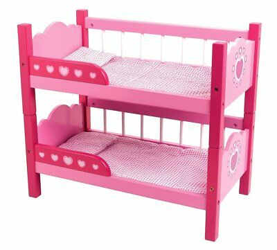 """Dolls World Pink Wooden Dolls Bunk Beds for dolls up to 18"""" Bedding included New"""