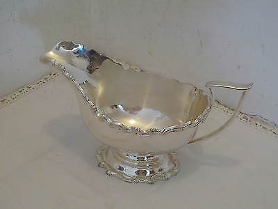 Victorian Silver Plate Decorative Pedestal Gravy Or Sauce Boat Made In Sheffield