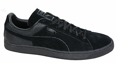 Puma Suede Casual Emboss Lace Up Black Mens Crocodile Trainers 361372 01 D3 188954ed7