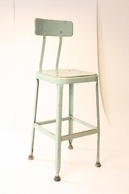 Vintage INDUSTRIAL DRAFTING STOOL steel metal chair light green steampunk shop