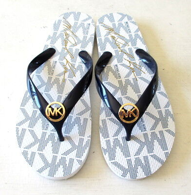 fe23e2e1dc38 NEW Michael Kors Womens Navy White Jet Set Rubber Flip Flop Thong Sandals  Logo