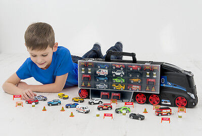 Teamsterz Large Car Transporter Carry Case Truck and Diecast Vehicles New