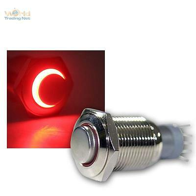 Press Button Metal, max. 230V/3A, Switch with LED lighting-ring Red