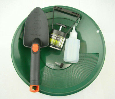 "Gold Panning Mining Kit-Green 12""Pan-Magnet Pick Up Tool-Scoop-Free Snuffer&Vial"