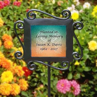 Personalized Planted in Memory of Memorial Garden Stake Angel Wings Tree Marker