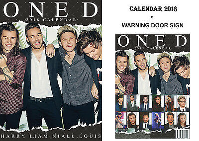 One Direction Calendar 2018 + One Direction Bewarn Door Sign