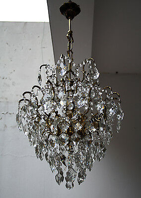 Antique Spider Style Cast Brass & Crystals Chandelier from 1950's