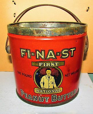 FI-NA-ST First National Stores Somerville MA 1lb Peanut Butter Tin Pail w Handle