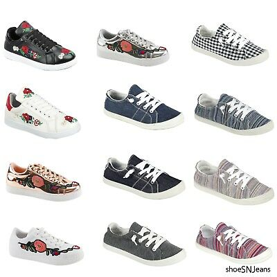 New Women Fashion Lace Up Flower Embroidered Flat Platform Floral Sneakers Shoes