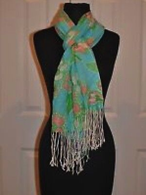 New Lilly Pulitzer Murfee Scarf Shorely Blue Tootie Cashmere/Silk Limited Ed