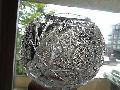 ABP Maple City Glass CRYSTAL CUT ROSE BOWL / VASE  American Brilliant Period