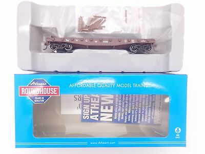 HO New York Central 40' Flat Car w/ Stakes #496011 - Roundhouse #RND14665 vmf121